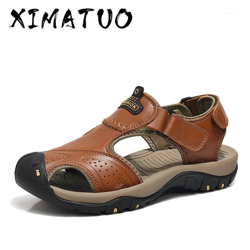 Sandales Mens Véritable Cuir Summer 2021 Marque Beach Hommes Wading Water Respirant Pantoufles Casual chaussures1