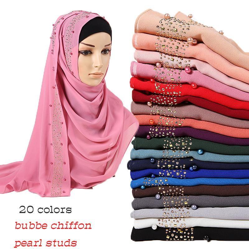 Kabarcık şifon başörtüsü eşarp elmas Glitter şallar boncuklar müslüman hicap eşarplar başörtüsü inciler giydirme saç bandı eşarplar 10pcs / lot