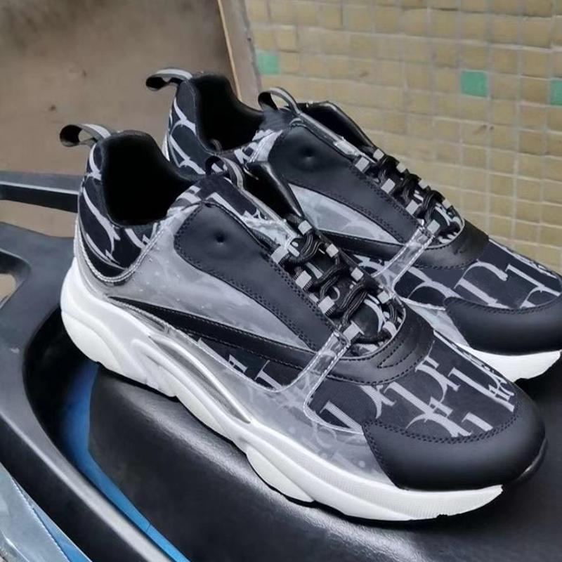 남자 신발 디자이너 B22 캔버스 및 송아지 가죽 스니커 즈 기술 니트 트레이너 여성 플랫 트레이너 진짜 가죽 플랫폼 스니커즈 최고 품질