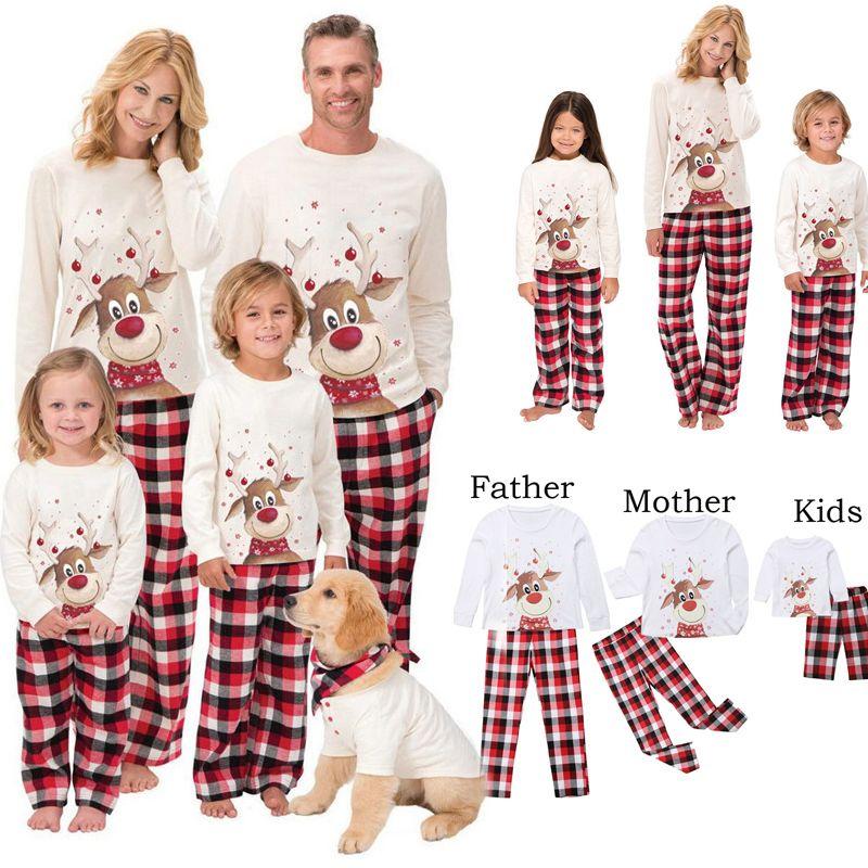 2020 مطابقة عيد الميلاد الأسرة مطابقة منامة مجموعة دير الكبار كيد الأسرة الملابس الأعلى + سروال عيد الميلاد ملابس النوم مجموعة رومبير