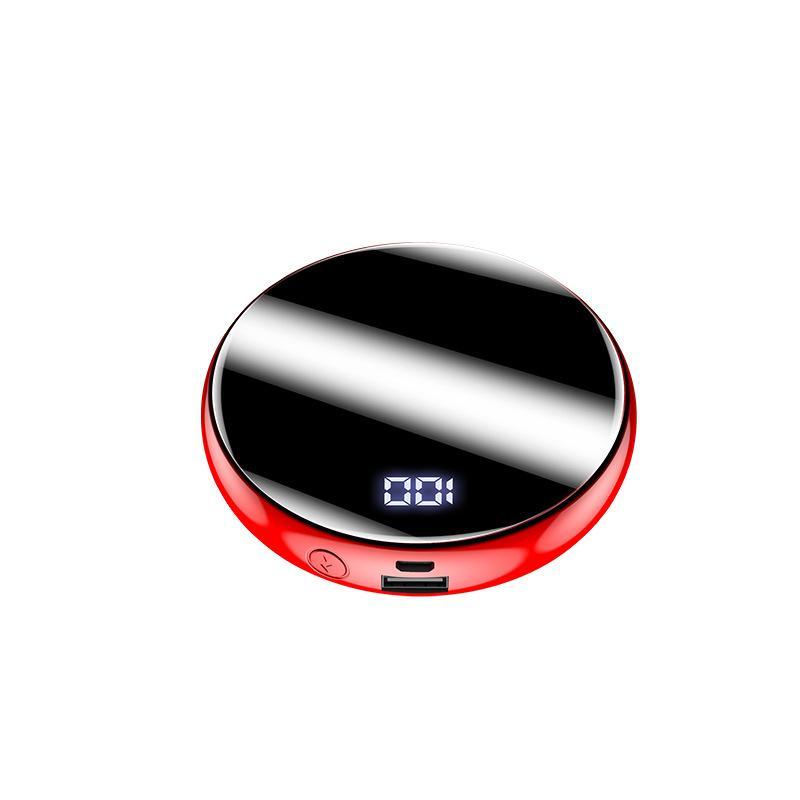 20000mAh Mini Power Bank Miroir batterie externe Banque d'affichage 2.1A Charge rapide ronde chargeur portable Powerbank pour téléphone intelligent