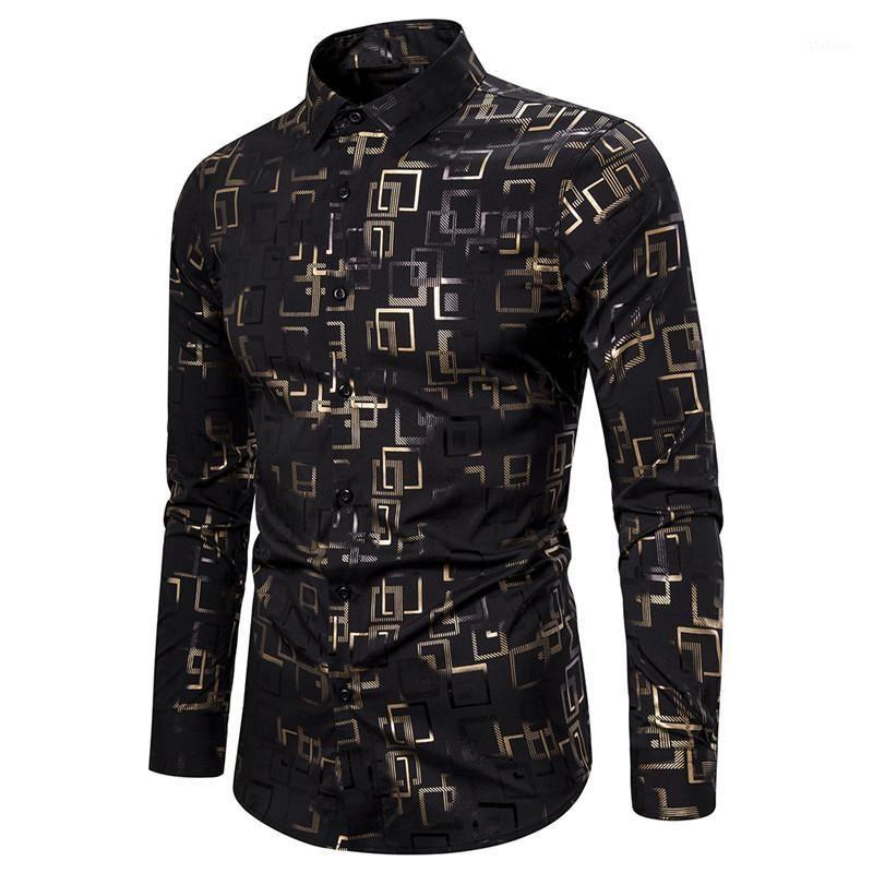 Mens Black Bronzing Button Down Dress Shirts Wedding Prom Camisa Masculina 2020 Marca manica lunga Nightclub Camicia per uomo1