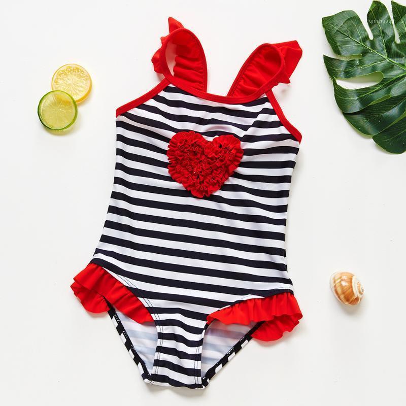 3 ~ 12-летний малыш девочек купальники один кусок детские купальники высокого качества детей полоски плавательный костюм для детей девушка-st2181