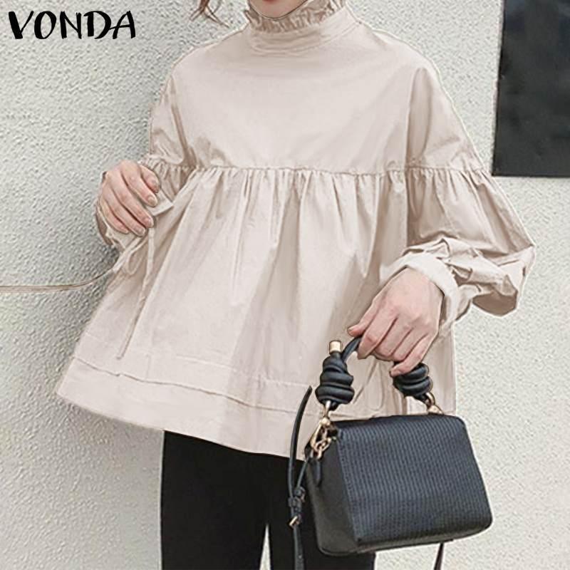 Tunika Damen Bluse Büro Shirts VONDA 2020 Autumn Langarmshirts Weiblich Vintage-Fest Shirts Bohemian Blusas Plus Size