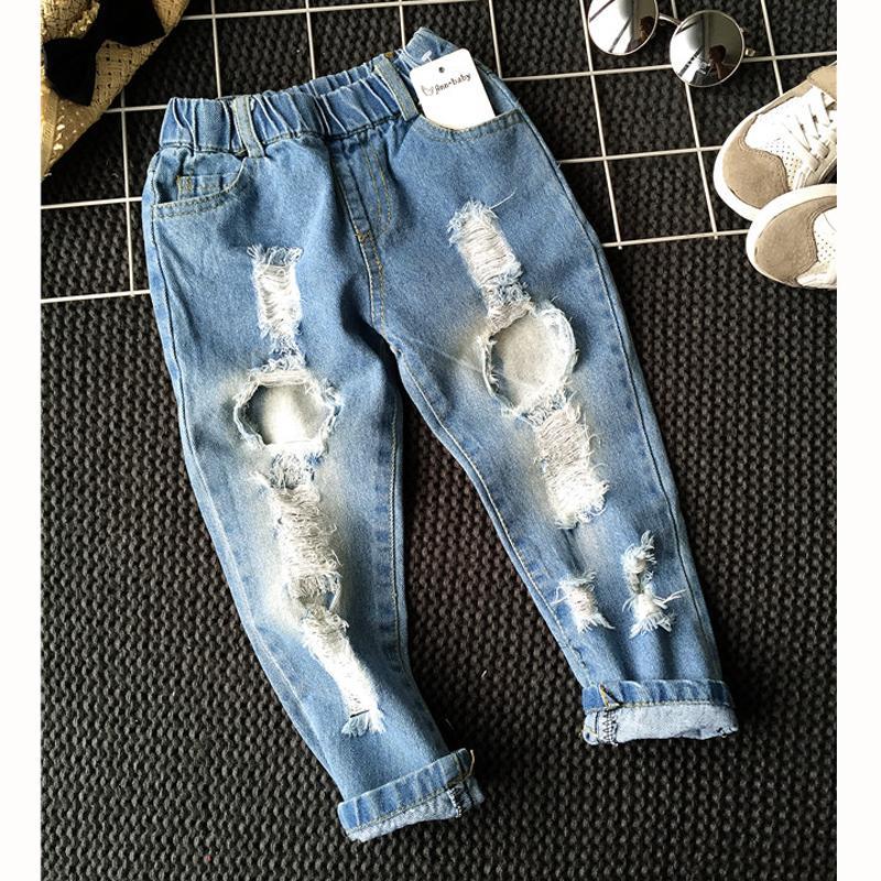 Casual Erkekler Kızlar Delik Kot pantolonunu 1-6yrs Çocuk Pantolon Sonbahar Moda Tasarımcısı Marka Çocuk Denim Pantolon Jeans 1006 Ripped