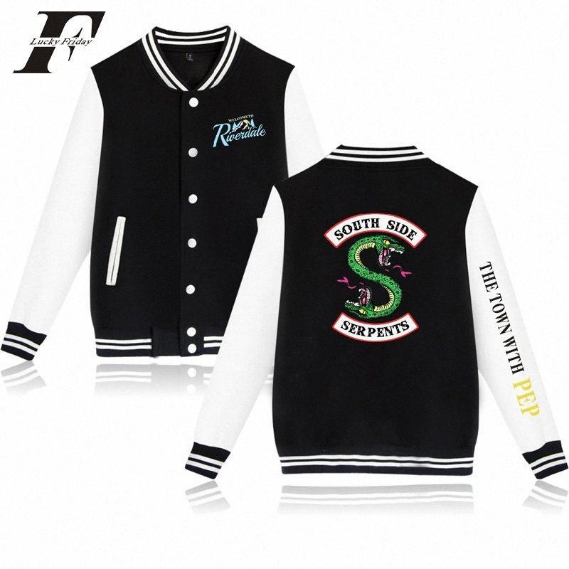 Vestes Hot TV Riverdale Fleece Baseball Jacket Men Serpents South Side Hoodies Drama rivière ville Sweat-shirt taille plus V2uy #