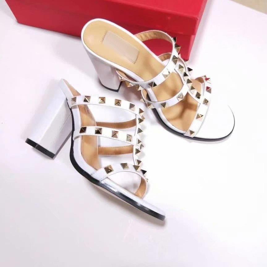 diseño de cuero sexy sandalias slingback bombas damas sexy tacones altos mujer zapatos moda tacón plano riveted playa mujer zapatillas tamaño 34-42