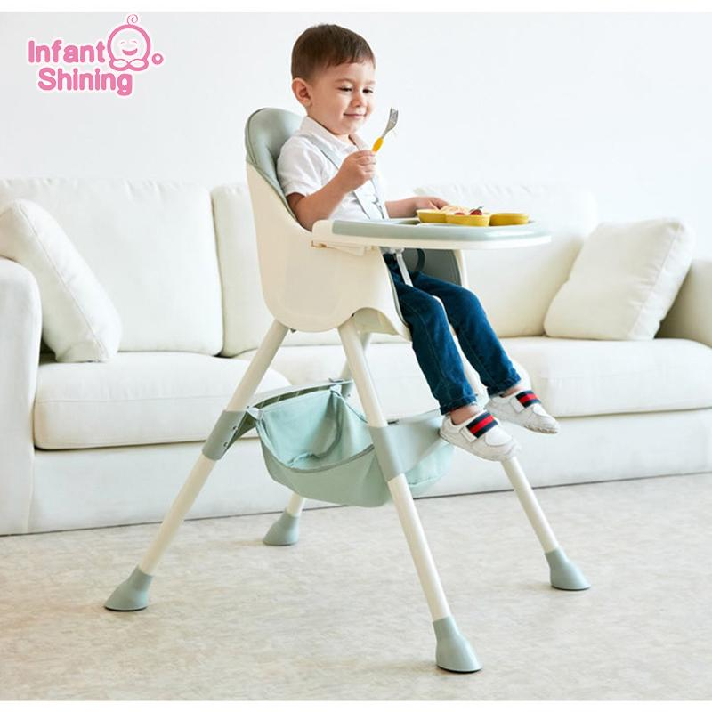 Infant Shining Kids Highchair Feeding Dining Chair Double Tables Macaron Multi-function Height-adjust Portable with Storage Bag LJ201110