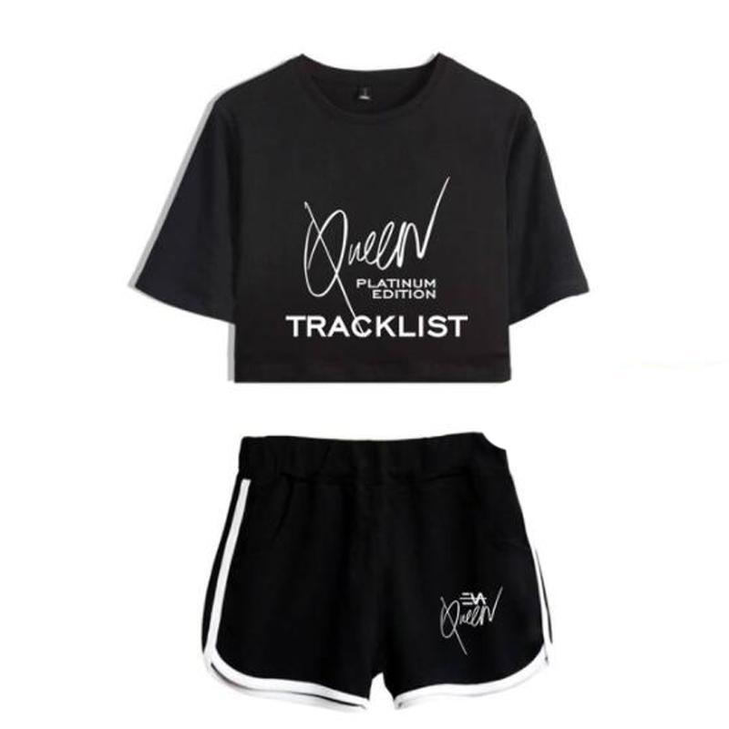 Trilha verão Suit Mulheres 2 Piece Set Eva Rainha Top Curto Shorts Two Piece Vestuário casual Ladies Treino Sportwear Twopiece
