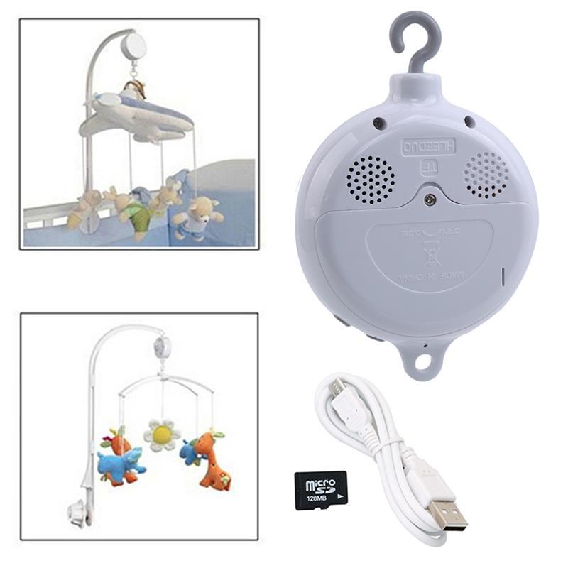 Lied Rotary Baby Mobile Krippe Rasseln Bett Glocke Spielzeug Batteriebetriebene Bewegung Musikkasten Kinderwagen Hängende Glocke Spielzeug + 128 MB SD-Karte LJ201113