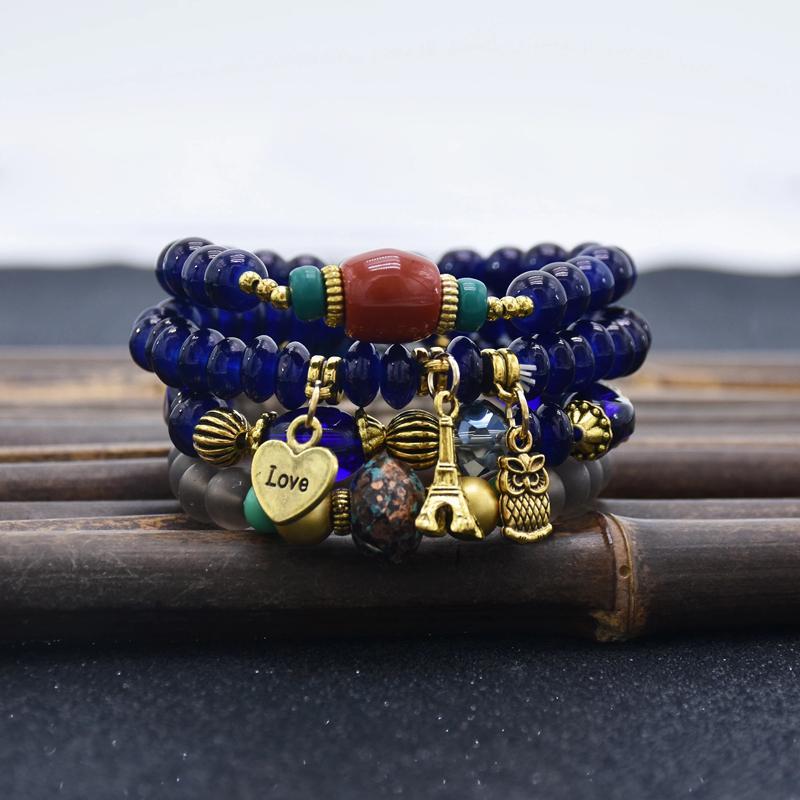 Euramerican tide تذوق حديثا الأول تزين المادة السيدات الرياح البوهيمي الأمة سوار من سبيكة سلسلة من الخرز هدية المجوهرات