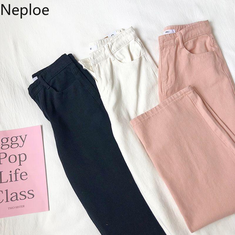 Neploe Kore Kadınlar Retro Geniş Bacak Pantolon Düz Beyaz Siyah Pembe Pantolon Yüksek Bel Kot Moda Streetwear Denim Pantolon 200930