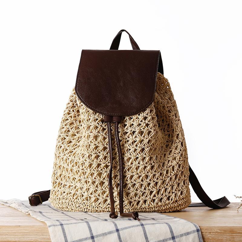 случайные соломы рюкзаки для женщин Плетеного тканого мешка школы для подростков девочек ротанга лета пляжа пачек больших кошельки леди назад 2020 C1017