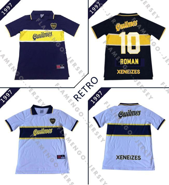 NCAA 96 97 Boca Juniors Jerseys Retro Vintage Maradona Soccer Jersey 1996 1997 Camisa de fútbol de Riquelme Roman Maillot de pie