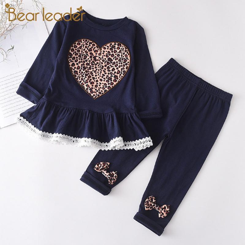 Líder oso vestir de las muchachas de la manera fija nuevos otoño Leopard corazón cabritos de la impresión Trajes Niños camisetas ocasionales y los juegos de pantalones 0927