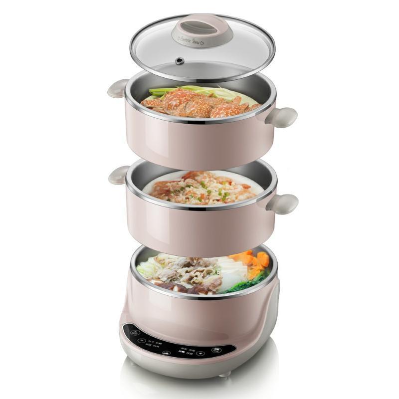 220V Multifuncional Cooking Electric Pot 3 Camadas Elétrica Steamer Alta Qualidade Multi Fogão UE / AU / UK / US Plug Máquina de Cozinha