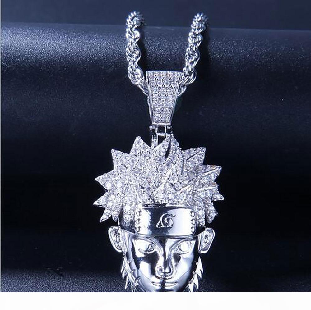 14K FUORI GHIACCIATO CZ BLING NARUTO PENDENTE MENS HIP HOP Micro Pave Cubic Zirconia diamanti simulati collana