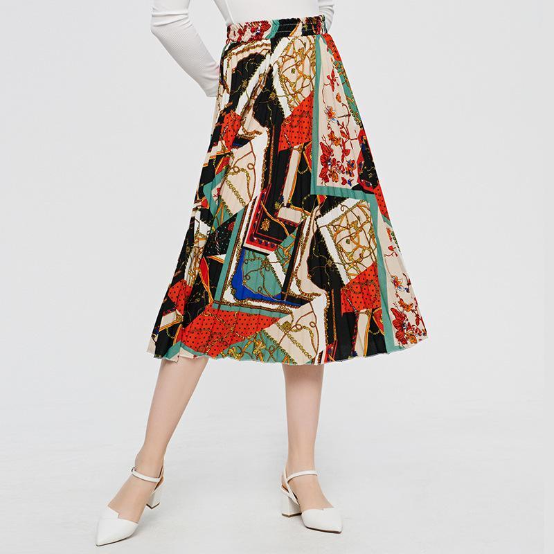 2020 Mulheres Verão Bonito Senhora Dança Dança Longa Saia Plissada Plus Size Moda Elegante Cintura Alta A-Linha Print Midi Saias Y1214