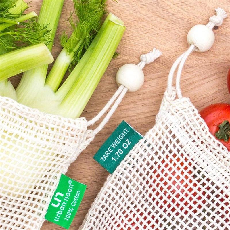 -Einkaufstaschen Organic Cotton Mesh-Grocery Shopping Taschen, Gemüse, Obst Kinder Spielzeug-Speicher-Taschen-Package 4 1FM L2