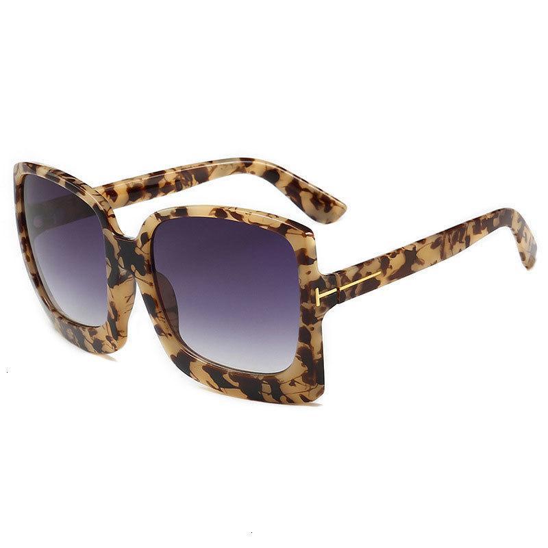 Leopar Baskı Boy Kadın Güneş Gözlüğü Tasarımcı Plastik Kadın Büyük Çerçeve Degrade Güneş Gözlükleri Vintage ulculos de sol UV400
