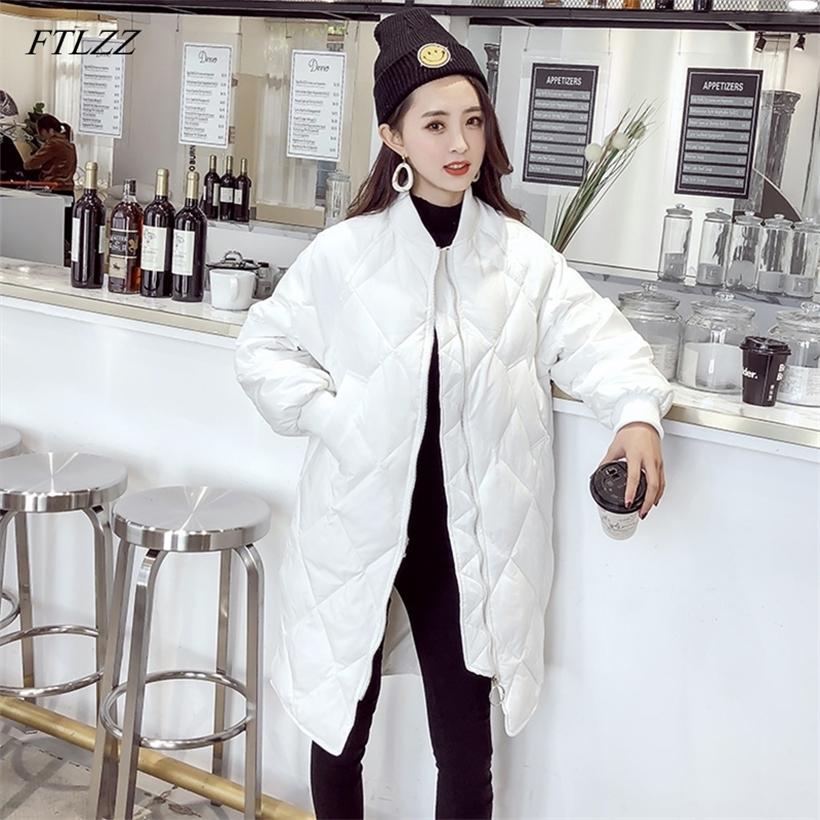 FTLZZ Ultra Açık Beyaz Ördek Aşağı Ceket Kış Uzun Bayan İnce Aşağı Ceketler Boy Sonbahar Kirpi Siyah Parkas 201210