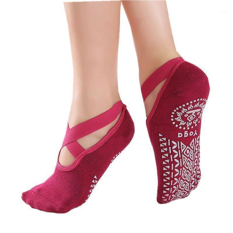 Spor Çorap Kadın Yoga Kaymaz Backless Silikon Kaymaz Bayanlar Havalandırma Ballet Dans Gym Fitness Pilates Cotton1