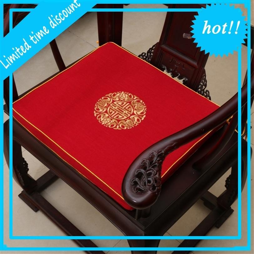 Broderie ethnique Coussin de siège de coton de lin chanceux pour le canapé chaise tampon classique haut de gamme chinois épaissie coussins décoratifs éponge
