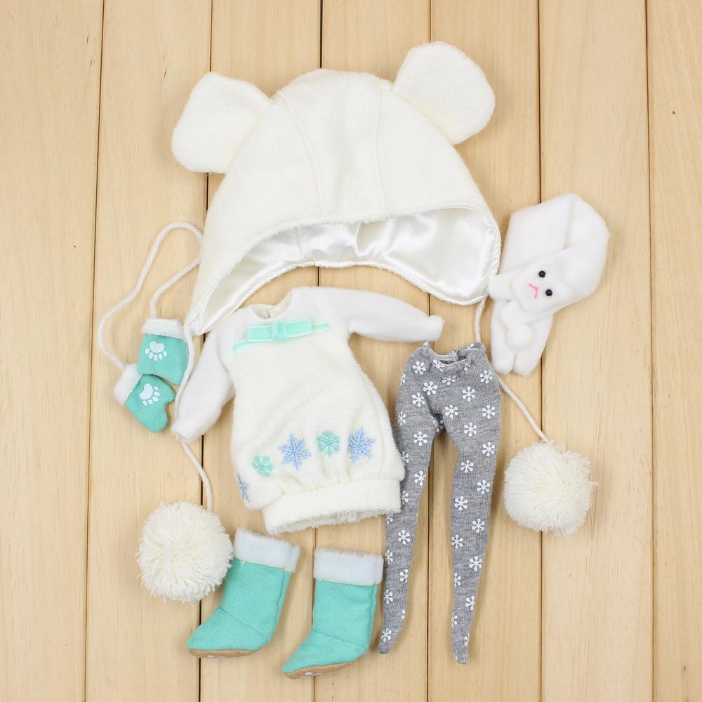 Ropa de nieve de muñeca de Blyth, incluyendo vestido, leggings, sombrero, zapatos, guantes y bufanda para 1/6 muñecas BJD NEO 201203