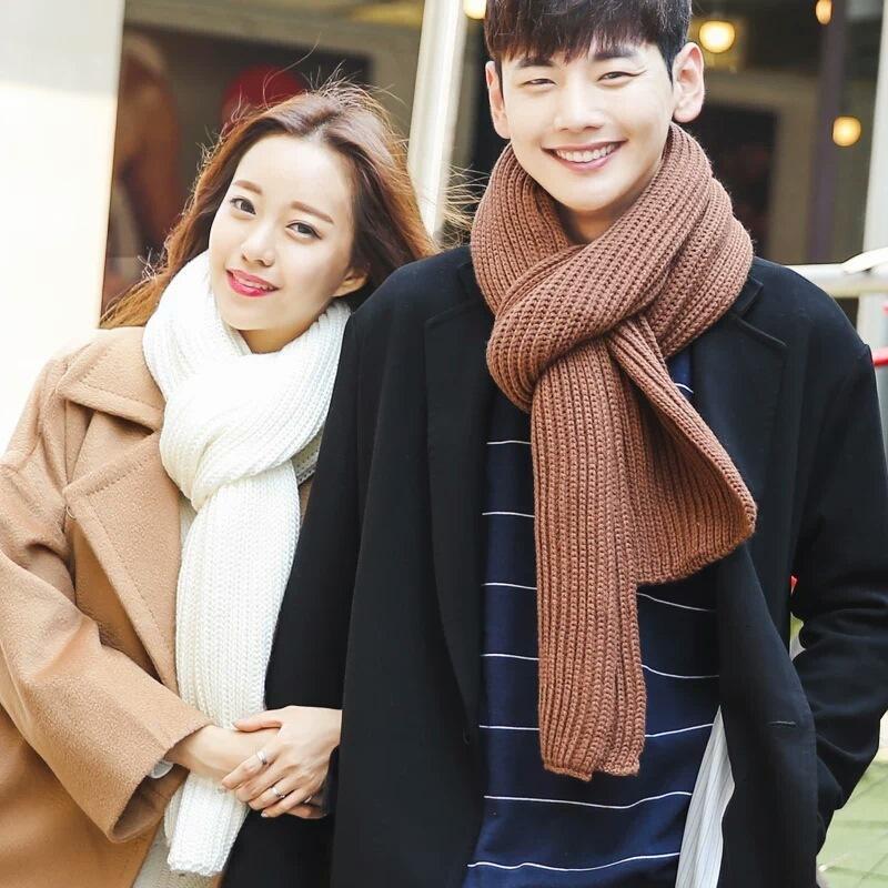 Katı renk yuanbao örgü yün çift kadınlar ve erkekler için sonbahar ve kış için eşarp