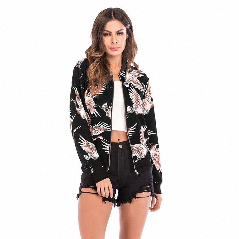 Floral jaqueta Mulheres Zipper manga comprida Verão Casacos Primavera Womens slim Senhoras casaco Casual Casacos 2020 preto Mk4e #