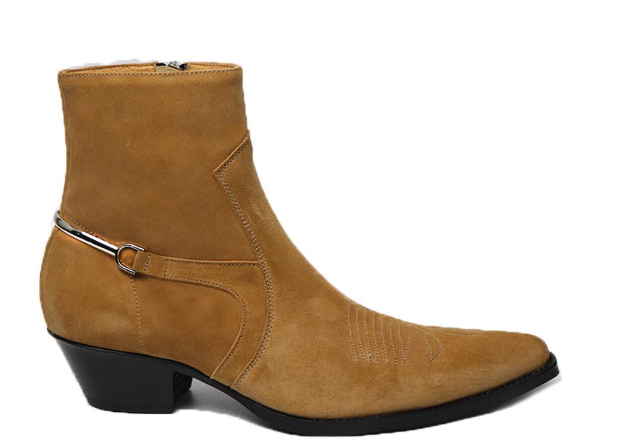 Neue Echtleder Männer beuten Metalldekoration männliche Stiefel Stickerei Stiefel Punkt Zehe der Männer Partei Schuhe med Ferse 5cm botas
