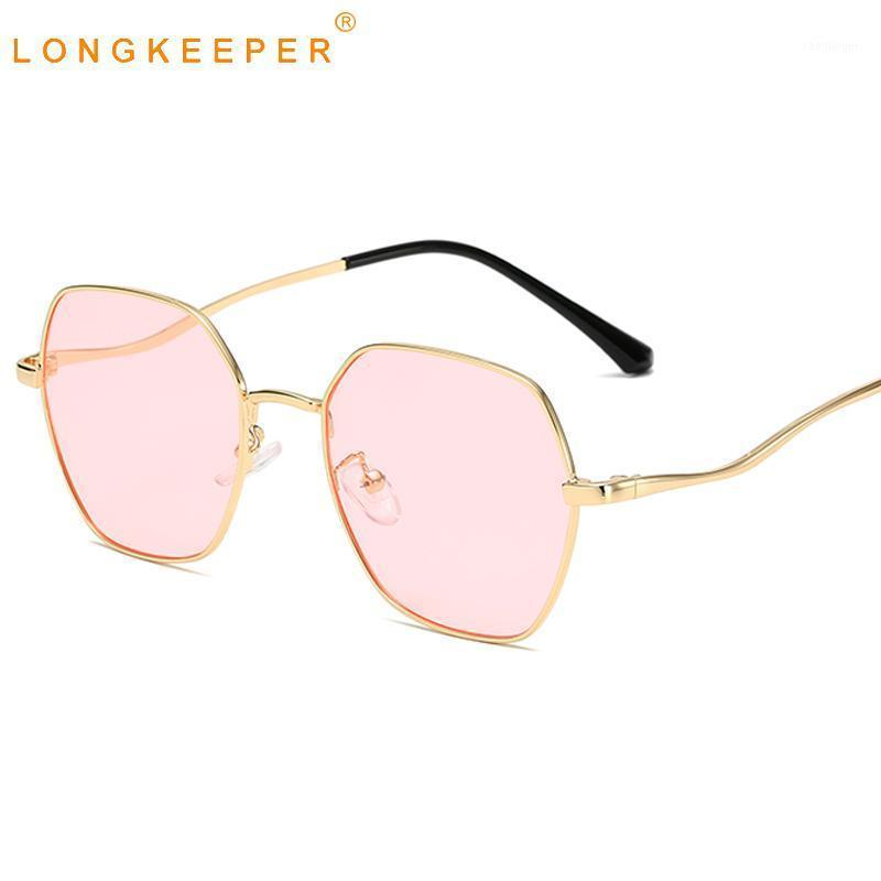 Lunettes de soleil Polygon longueurs Femmes 2020 Mode Métal Sun Lunettes Femelle Gold Rose Eyeware Vintage Feminino UV4001