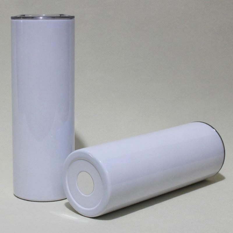 20 oz Süblimasyon Düz Sıska Tumblers Boş Beyaz Paslanmaz Çelik DIY Konik 20 OZ Vakum Yalıtımlı 600 ml Araba Bardakları