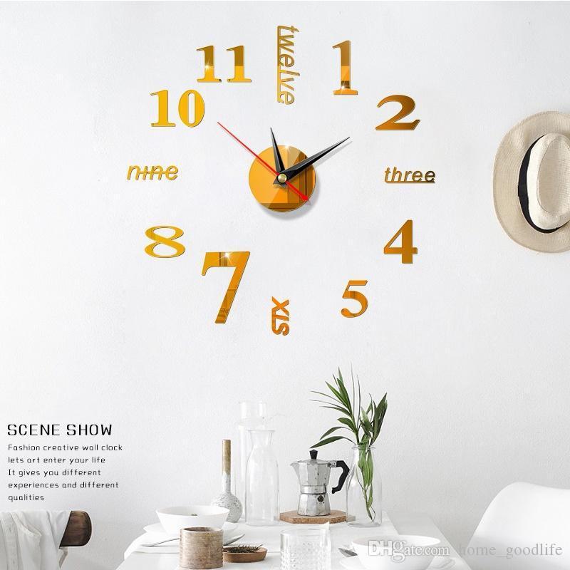 3D DIY Большой настенные часы Современный дизайн Бесшумная наклейки стены часы Акриловое зеркало Самоклеящиеся настенные часы Гостиная Home Decor