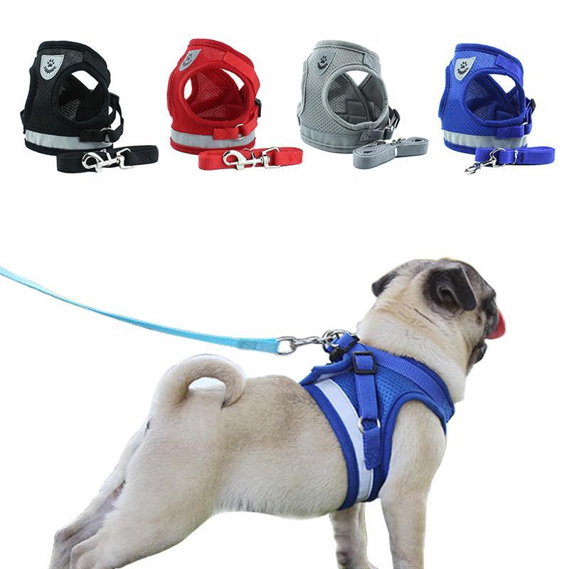 الكلب تسخير مع المقود الصيف الأليفة قابل للتعديل الرصاص المشي عاكس الصدرية للجرو البوليستر شبكة تسخير للمتوسط كلب صغير