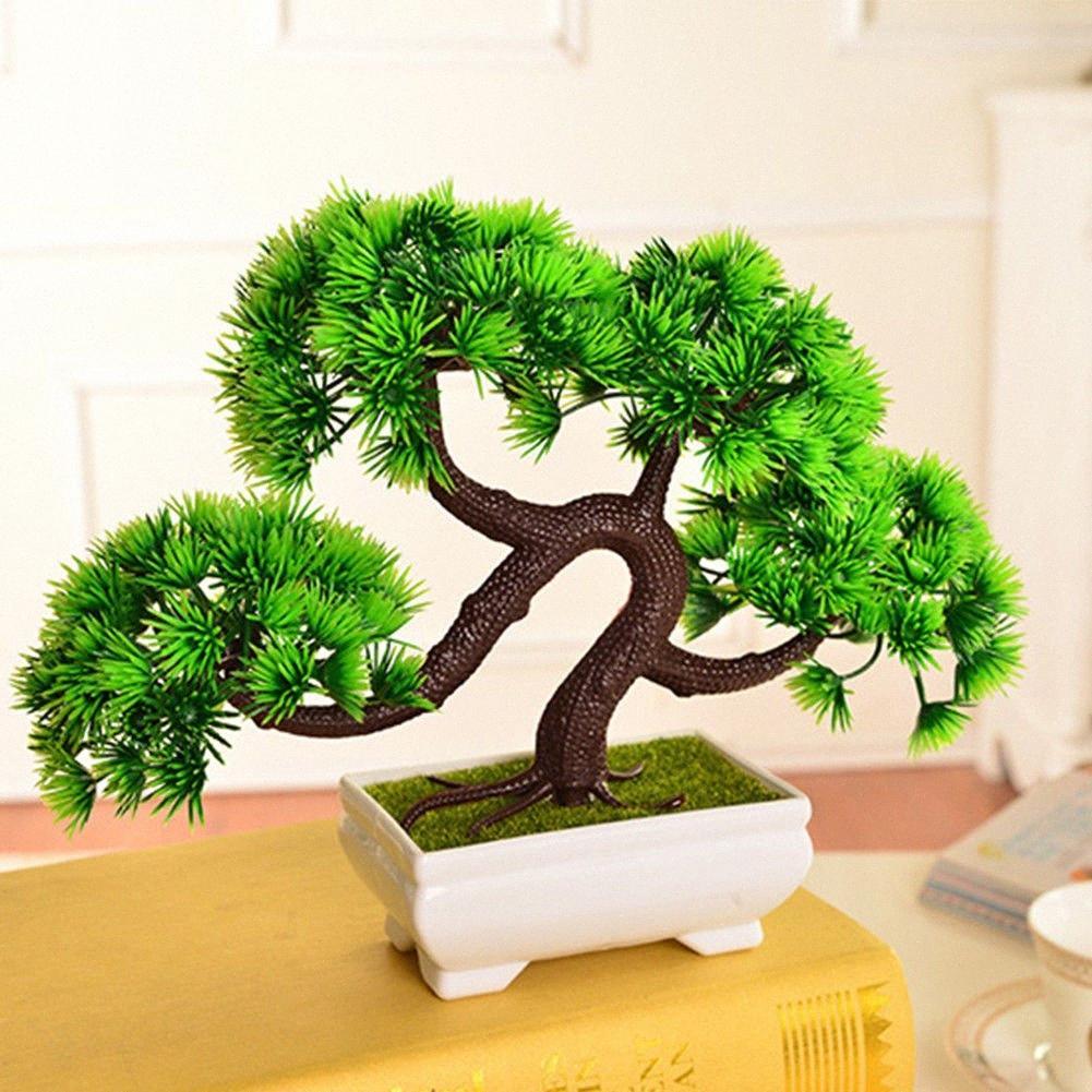 Artificielle Pine Tree Bonsai usine Accueil PC de bureau Bureau paysage créatif Simulation Potted Arbre plante Décoration XwFm #