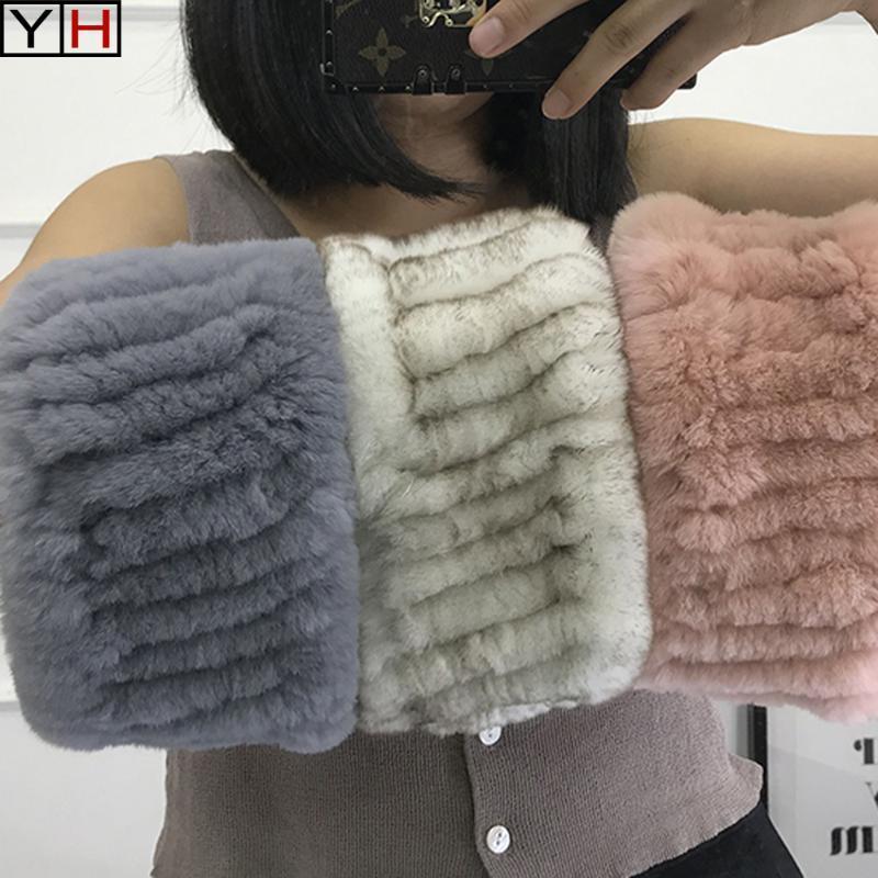 Heißer Verkauf Winter Frauen Echt Pelz Handgemachte Stretch Pelz Schal Strick Echte Rex Stirnbänder Natürliche Ringschals