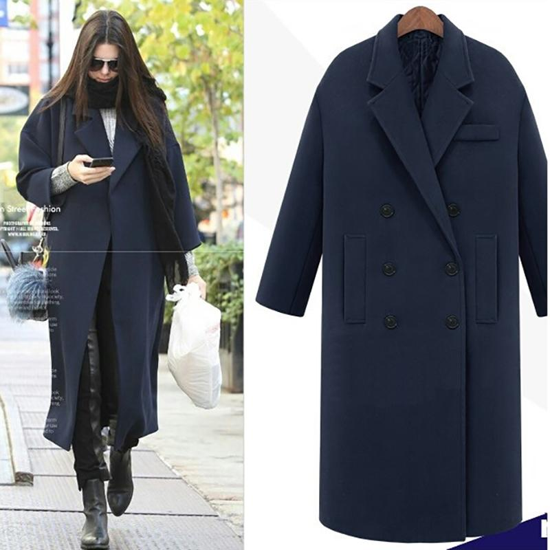 Jappkbh autunno inverno lana cappotto lungo cappotto giacca casual doppio petto natale blazer outwear elegante con scollo a V donne cappotto bayan mont y201012