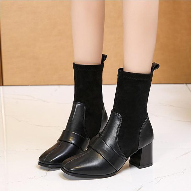 LASDies Square Toe Обувь Женщины PU Кожаные Короткими Сапоги Женские Сращивание Высокие каблуки Модный Офис Путешествия Элегантная Горячая распродажа