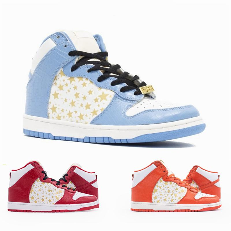 Nouveau Dunk SB Hi Hi Mens Running Shoes High Stars Blue Rouge Orange Trainer des Chaussures Femmes Sports Sport