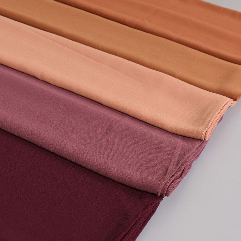 De haute qualité en mousseline de soie grande écharpe couleur unie femmes musulmanes Hijab islamique ordinaire Foulard long Châle 180x85cm 50 Couleurs