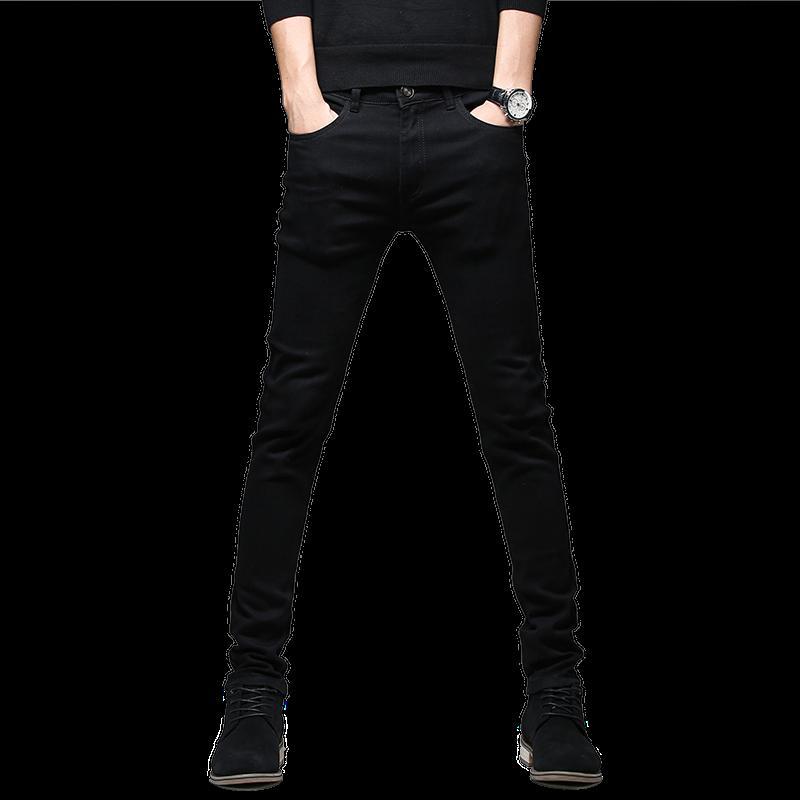 27-36 블랙 남성 청바지 순수한 컬러 작은 스트레치 데님 바지 남성 가을 새로운 남성 바지