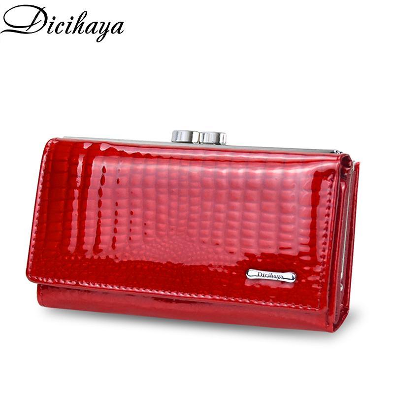 Dicihaya New Genuine Leather Women's Alligator Short Hasp Zipper Wallet Ladies Clutch Bag Purse Female Luxury Coin Purses