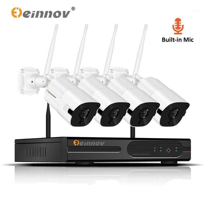 Einnov 4CH CCTV NVR Kiti Ev Kablosuz Güvenlik Kamera 1080 P Sistemi Su Geçirmez Açık Video Surveillanc Kit IP Kamera HD P2P1