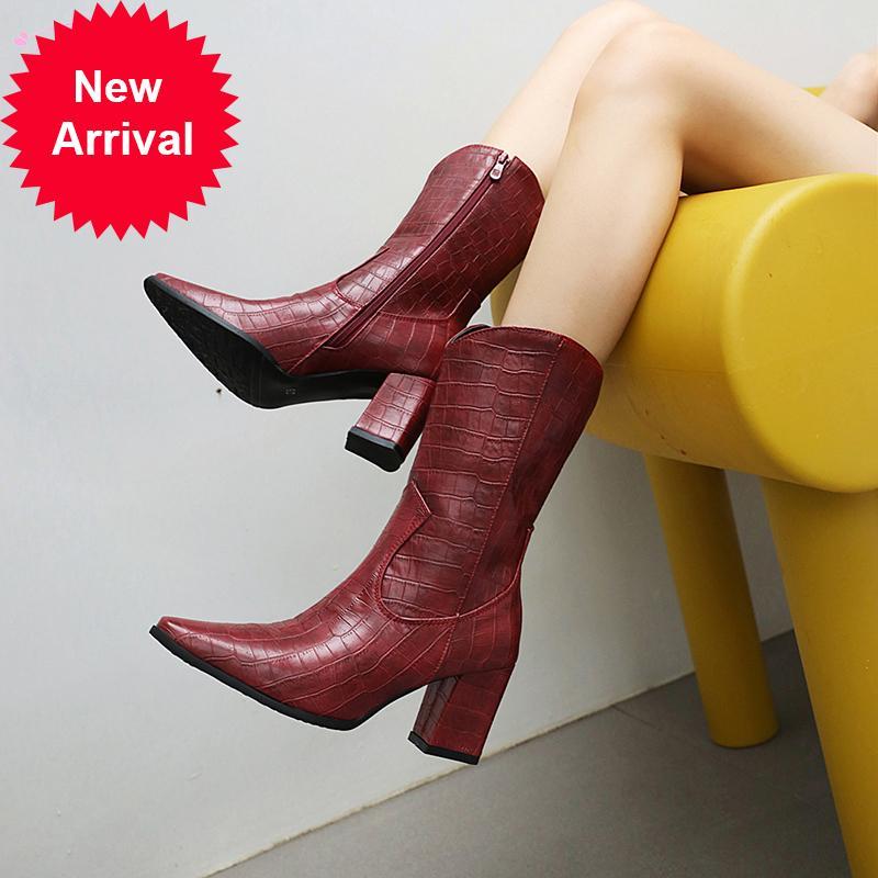 2021 La nuova forma quadrata in stile strada in mezzo al vitello plaid boots nero rosso tacchi alti verdi 7drs