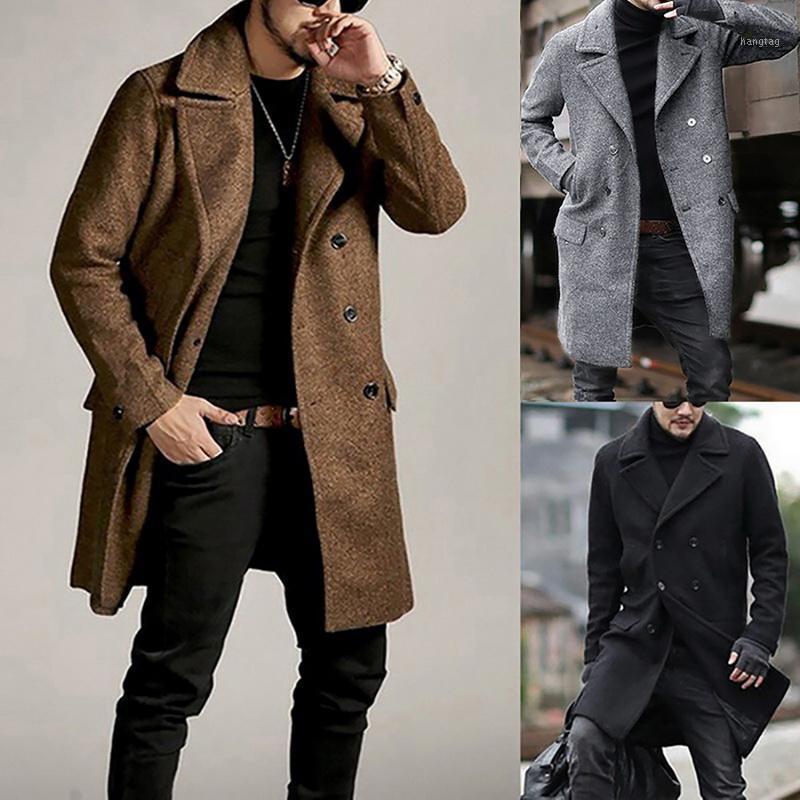 Lana de los hombres mezclas de moda Hombres de moda abrigo cálido abrigo de lana abrigo abrigo otoño invierno suelto rompevientos chaqueta niño gris granizado alto quanlit
