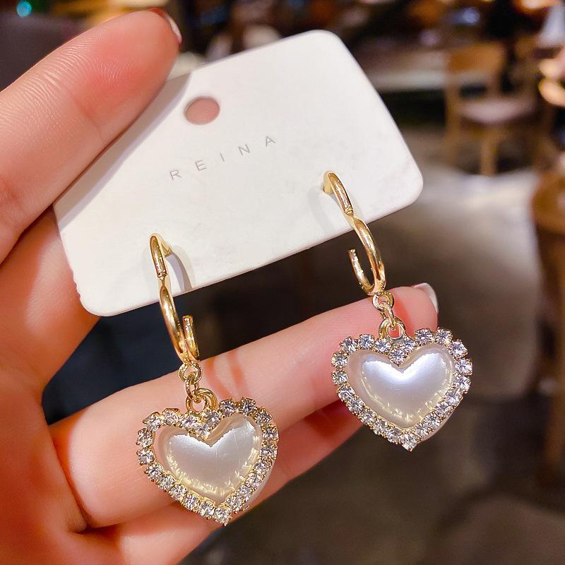 Fashion 925 Silver Needle South Korea Dongdaemun Elegant Heart Pearl Earring Eardrop Peach Heart Eardrops Fashion Wholesale Earrings Womens