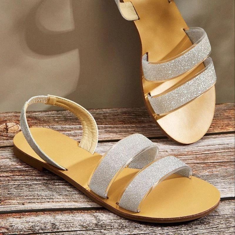2021 Sapatos de Verão Sandálias Mulheres Rua Open Toe Lantejoulas Sandalias Mujer Senhoras Casual Gladiador Ao Ar Livre Sandálias Plana # W67C