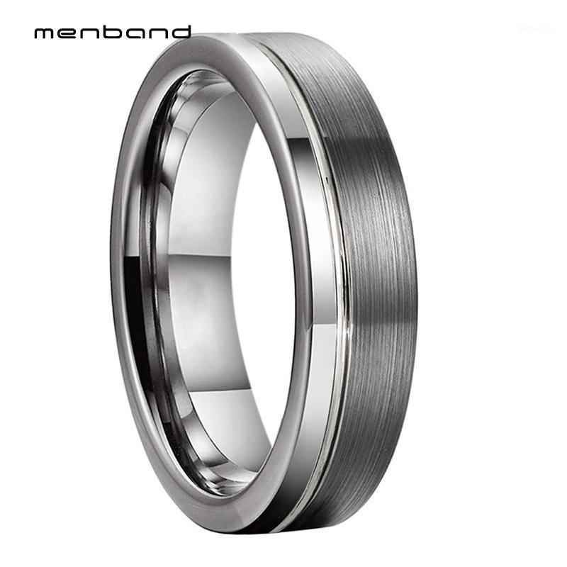 Anéis de casamento Único Banda Mulheres Tungsten Ring Flat offset Groove escovado acabamento polido 6mm caixa disponível1
