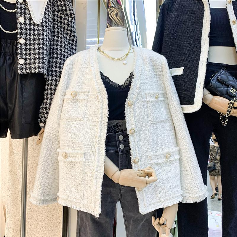 Mujer de estilo coreano jacklee ins moda chaqueta de tweed de un solo pecho blanco Invierno de otoño nuevo Vintage tasseles con flecos chaqueta corta